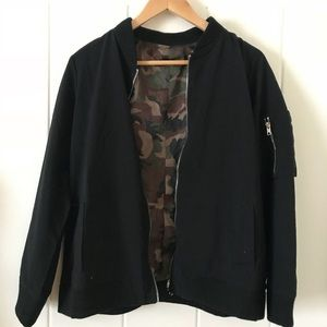 Jackets & Blazers - Black bomber with camouflage lining